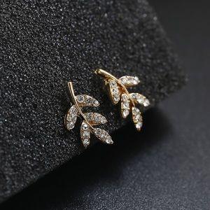 GlitzBlitz Jewelry - Gold & Crystal Leaf Stud Earrings